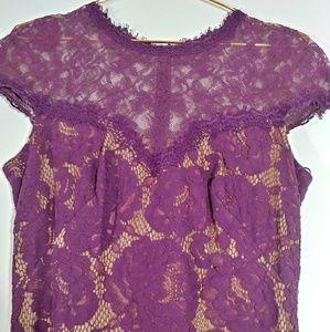 Tadashi Shoji Long Gown Purple Lace Size 4 NWT